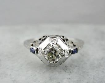 Art Deco Diamond Engagement Ring, Art Deco Ring, Diamond and Synthetic Sapphire, Filigree Ring 92X6M2-P