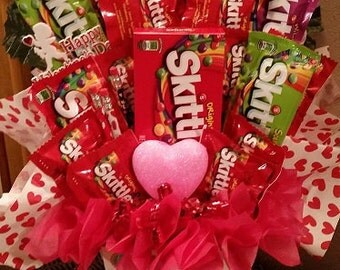 Valentine Candy Bouquet Rainbox Candy Arrangement