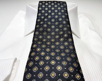 Silk Tie in Floral with Blonde Yellow White and Black