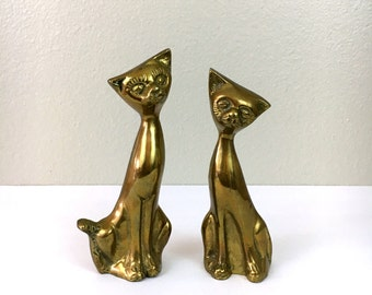 Vingtage Brass Cats - Pair of 2