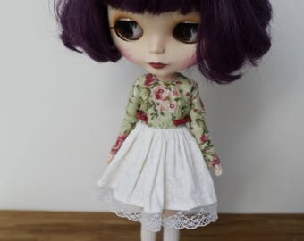 Floral mori style green longsleeve dress by Atelier Milabrocc for Blythe