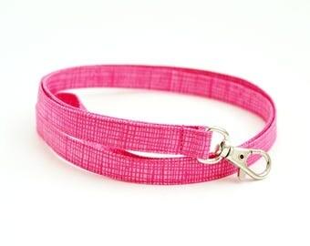 Skinny Fabric Lanyard with Swivel Clasp - Pink Lines - Thin Key Lanyard - ID Badge Holder - Key Strap - Teacher Lanyard - Cute Thin Lanyard