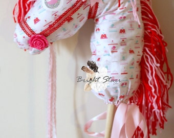 toy horse - Valentine's day horse - Horse on a stick - ride on toy - vintage toys - Handmade toy - photo props - hobby horse - stick horse