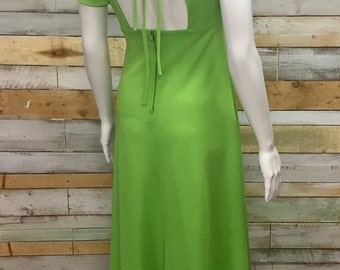 Vintage Peter Robinson (early Top Shop) lime green spring 1970's backless maxi