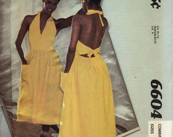 Halter Dress with elasticized waist, big pockets - Show-Me! McCall's 6604, Misses Sizes 8, 10, 12 - 1980s