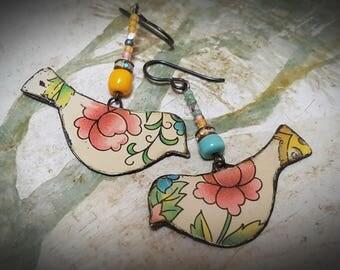 Rustic Folk Art Birds. Recycled tin Earrings