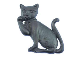 Vintage Pewter Cat Brooch, Large Silver Cat Brooch, Vintage Cat Brooch, Cat Pin
