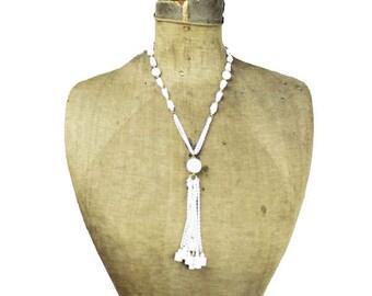 Vintage Tassel Necklace, Long White Necklace, White Bead Necklace, Long White Chain Tassel Necklace, White Tassel Necklace