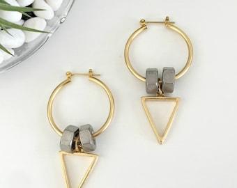 Golden hoop earrings, triangle hoops, gold silver hoop earrings, gold hoops triangle pendant, nulika
