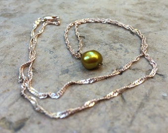 pearl necklace, Mother's LOVE, freshwater pearl on rose gold plated chain, gift for her, hand wire wrapped, dainty and feminine *BEAUTIFUL*