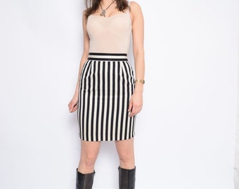 Vintage 90's MOSCHINO Striped High Waisted Mini Skirt / Black And White Mini Skirt - Size Small