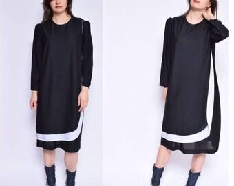 Vintage 80's Black Shift Dress / Sheer Black Dress / Black Tent Dress - Size Medium