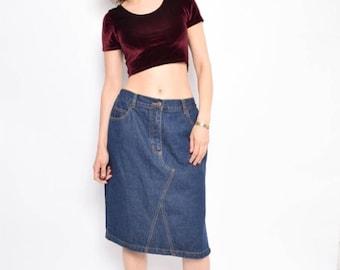 Vintage 90's Navy Blue Denim Skirt / Pencil Denim Skirt / High Waisted Midi Skirt - Size Extra Large
