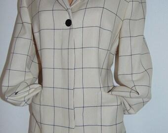 Laura Ashley Vintage, fine textured 100% wool, lightweight smart jacket-blazer, size 14
