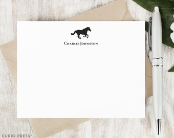 Personalized Stationary Set / Set of Flat Horse Personalized Stationery Note Cards / Equestrian Custom Printed Thank You // HORSE