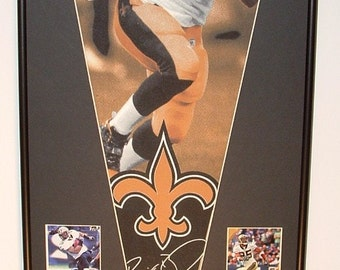 New Orleans Saints Drew Brees Pennant & Cards...Custom Framed!!!