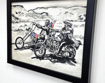 Born to Ride  - Ride or Die - Framed  Wall Art Giclee Canvas Paint -Harley Davidson Chopper poster - Great Rock'n'Roll Bikers Home Decor -