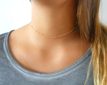 Gold Collar Necklace, Gold Choker Necklace, Delicate Choker, Choker Collar Necklace, Choker, Minimal Gold Necklace, Gold Choker, #213
