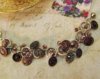 Repurposed Antique Button Charm Bracelet