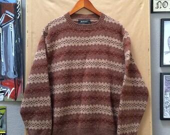 Vintage Jantzen Brown Jacquard Sweater Wool 1970's Made in USA Preppy Portland Oregon