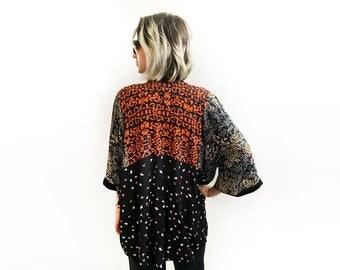 Statement Kimono, Orange Summer Jacket, Short Kimono Cover Up, Loose Bohemian Clothing, Eclectic Cardigan, Casual Bohemian Kimono
