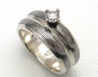 Stainless Damascus Engagement / Wedding Ring with Diamond