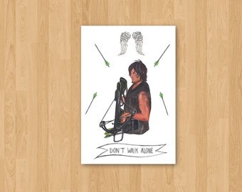 Daryl Dixon from The Walking Dead, Illustrated Portrait, Pop Culture TV Art