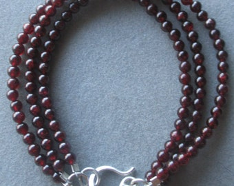 Triple Strand Beaded Garnet Sterling Silver Bracelet, January Birthstone
