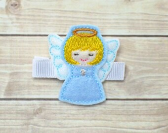 Christmas Angel Hair Clip, Angel Hair Bow, Angel Clip, Christmas Hair Clip, Christmas Hair Bow, Toddler Hair Clips, First Christmas Clip