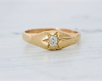 Victorian Engagement Ring | Antique English Ring | 18k Yellow Gold Wedding Ring | Mine Cut Diamond Solitaire | Starburst Ring | Size 6.75
