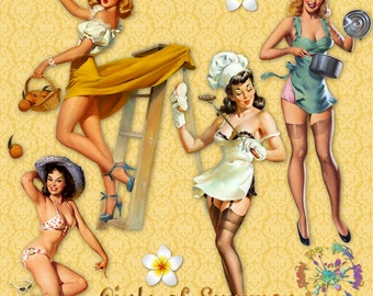 Girls of Summer Vintage Pinup Girls | Beach Bathing Suit Sunning Grilling | Clipart Instant Download