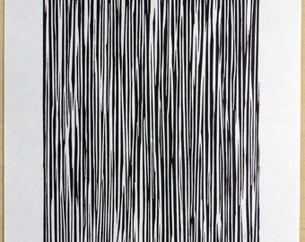 The Rain - a linocut on Japanese Paper