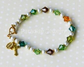 Catholic Jewelry Forest Colors Rosary Bracelet, Swarovski Crystal Beads Crucifix and Miraculous Medal Charm Bracelet