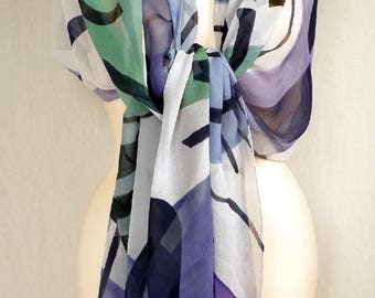 Hand Painted Silk Chiffon Scarf - Floating shapes in various shades of lavender with mint green