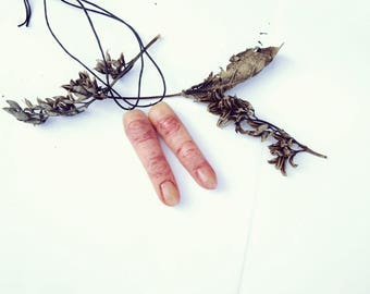Two realistic fingers set. anatomical jewelry Human anatomy Witch necklace Odditties curiosities Macabre jewelry Body parts Horror jewelry