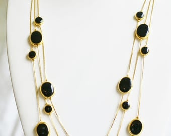 Vintage Avon Gold Tone Necklace - Silver Plated Triple Strand Station Necklace - Black Inset in Gold Beads, Gift for Her