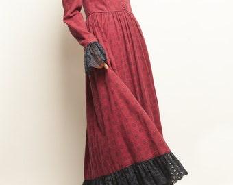 1930's-1940's victorian paisley motif romantic collerette long dress