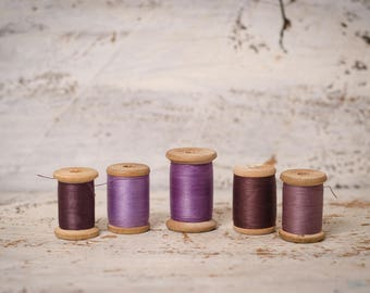 Vintage craft supply Lilac cotton set wooden thread spool sewing thread sewing Room Decor cotton thread craft spool vintage sewing spool