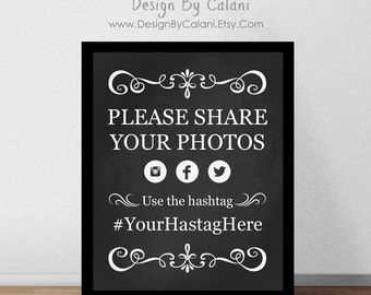 Wedding Hashtag Sign, Chalkboard Wedding Hashtag Sign, Printable Wedding Hashtag Sign - DIGITAL FILE