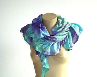 Asymmetrical Gypsy Purple Aqua Sea Scarf  Boho Hippie Accessories Gathered Scarf Spring Summer Season gift for her