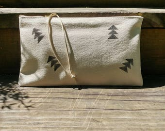 Natural canvas zipper pouch with block print - Volcano Goods