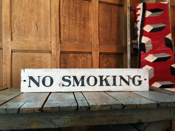 Vintage Wood No Smoking Sign, Hand Painted Sign, Service Station Sign, Train Station No Smoking Sign