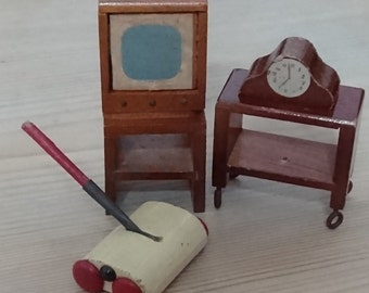 Vintage dollhouse furniture, TV, clock, carpet sweeper and side tables