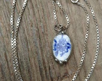 Vintage blue China pendant and chain