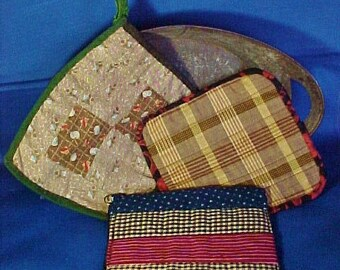 Antique Patchwork Pot Holders, Hot Mats, Group of Three, Vintage Fabrics