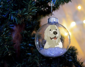 Great Pyrenees Christmas personalized ornament floated paper glass bulb dog gift memorial