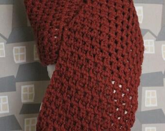 Terracotta Crochet Shawl, Handmade Wool Echarpe, Crochet Wool Shawl