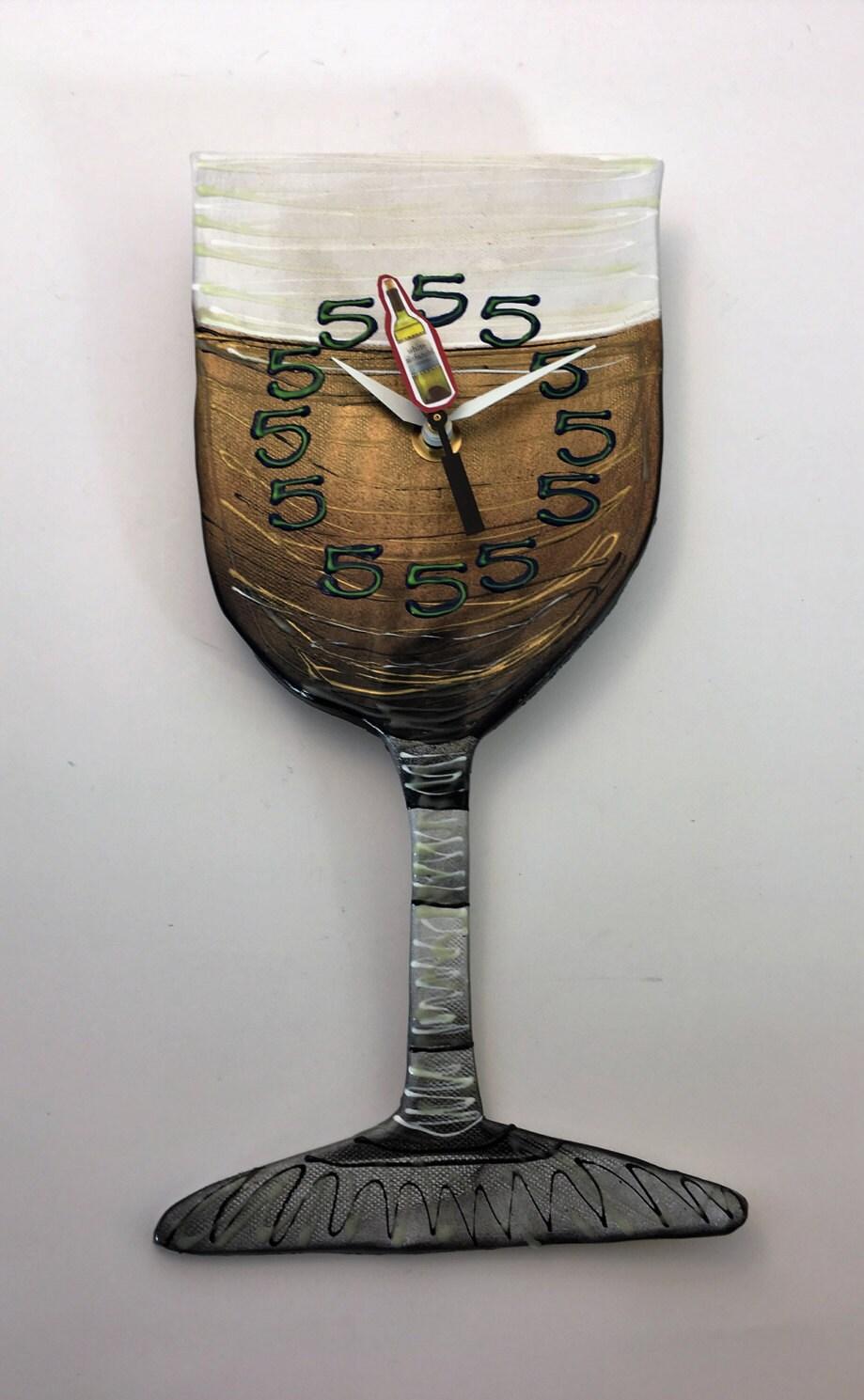 Wall Clock Wine Glass Clock Unique Wall Clock Kitchen