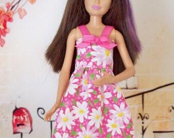 Handmade, Skipper Clothes, Skipper Dress, Pink Daisy Dress, Fashion Doll Clothes, Doll Dress, Barbie Sister, Doll Clothes, Handmade Dress