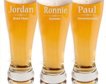 Personalized Beer Glass, Personalized Pilsner Glasses, Engraved Beer Mugs, Groomsman Glasses, Wedding Glasses,